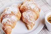 foto of croissant  - Cup of coffee with croissants - JPG