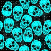 stock photo of voodoo  - Seamless pattern voodoo cartoon with different skull  - JPG