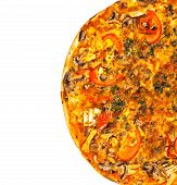 picture of hot fresh pizza  - hot fresh pizza isolated on white background - JPG