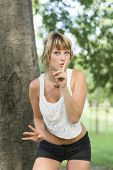 foto of silence  - Pretty young woman in shorts and a t - JPG