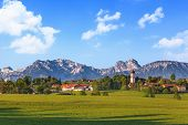 stock photo of bavarian alps  - Landscape of Bavarian and Alpine Alps in Germany - JPG