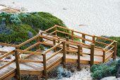 foto of scrubs  - wooden staircase down through coastal scrub on face of sand dune to beach at Moses Rock Western Australia - JPG