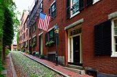 foto of acorn  - Acorn street Beacon Hill cobblestone Boston in Massachusetts USA - JPG