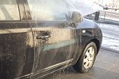 picture of pressure-wash  - Washing with pressure gun my new black car - JPG