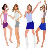 Dancing Girls  - Stock  Illustration