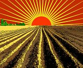 image of plow  - vector illustration flat strip of plowed land stretching to the horizon - JPG