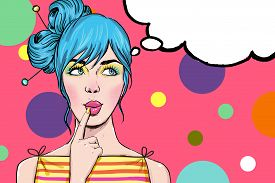 image of invitation  - Pop Art illustration of girl with the speech bubble - JPG