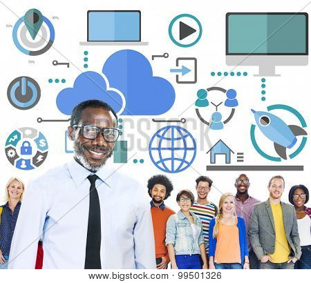 Big Data Sharing Online Global Communication Leadership Concept