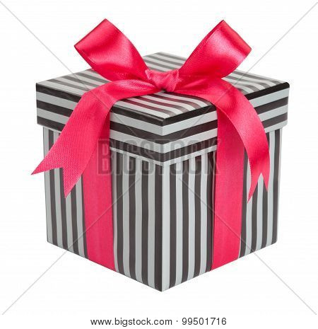 Gift Striped Box With Pink Bows Isolated