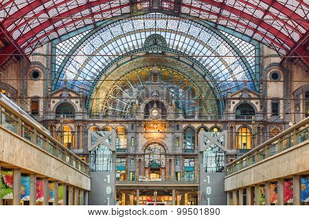 Interior of Antwerp central railway station, Belgium.