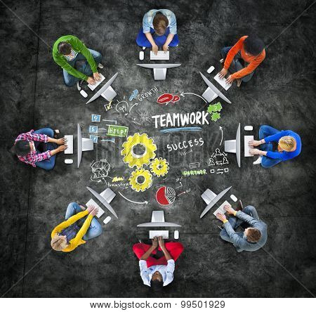 Teamwork Team Together Collaboration Computer Technology Online Concept