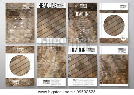 Business templates for brochure, flyer or booklet. Dry straw texture. Collection of abstract multico