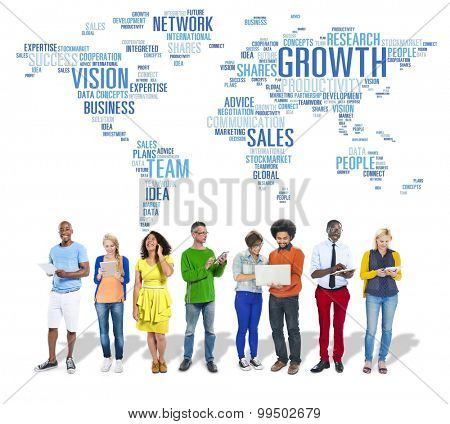 Global Business People Digital Device Technology Growth Concept