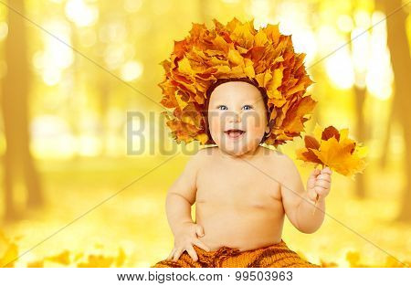 Autumn Baby, Little Kid In Fall Leaves Crown, Child Boy Yellow Hat Maple Leaf