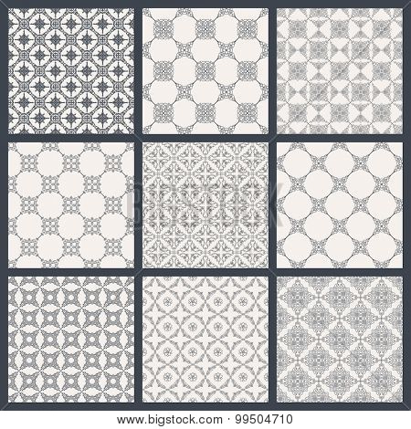 Vintage seamless background set in oriental style. Black and white monochrome wallpapers. Patterns for design. Traditional baroque decor
