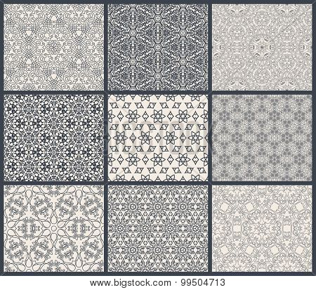 Vintage seamless background set in eastern style. Black and white monochrome wallpapers. Patterns for design. Traditional oriental decor