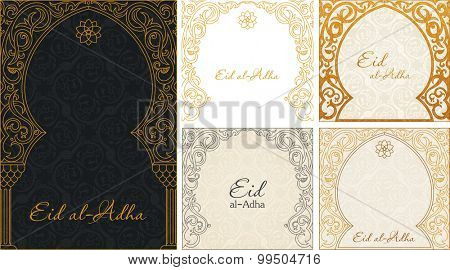 Eid al Adha greeting gold backgrounds set. Feast of the Sacrifice vector ornament. Arch Muslim mosque design silhouette