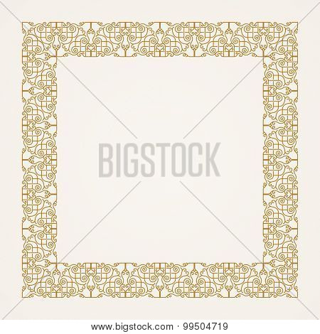 Vintage baroque floral frame. Vector baroque gold illustration