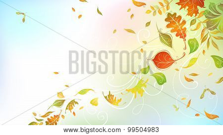 Falling Autumn Leaves On Bright Background.