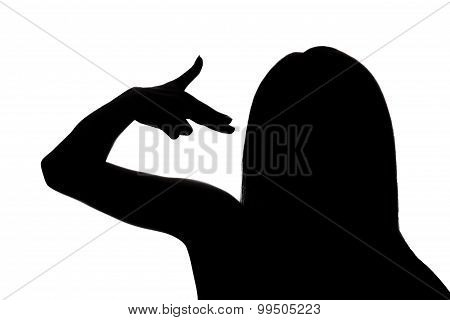 Woman Pointing Fingers To The Head Like Shooting A Gun