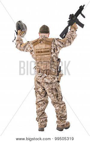 Happy Soldier In Uniform