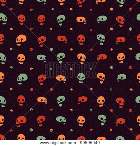 Cartoon Halloween party skull seamless flat icon.