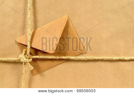 Brown Paper Parcel With Envelope