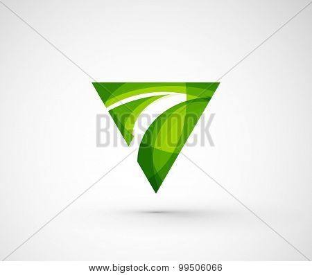 Abstract geometric company logo triangle, arrow.  illustration of universal shape concept made of various wave overlapping elements