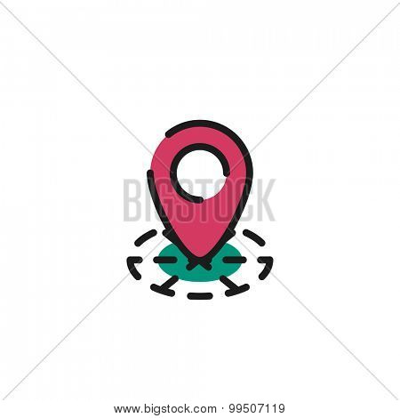 Color line icon for flat design isolated on white. Map tag