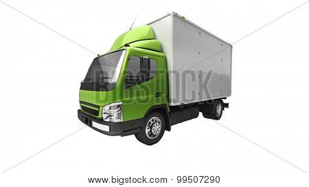 3d courier service delivery truck isolated on white