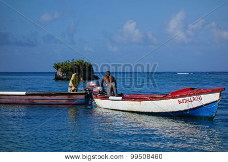 Two Jamaican fisherman in the Caribbean Sea