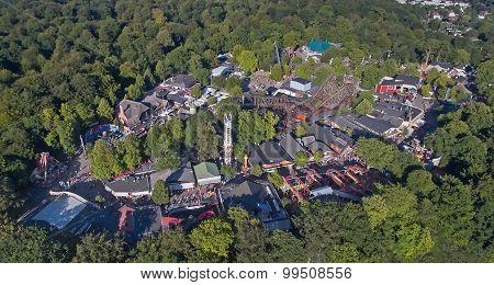 Aerial View Of Dyrehavsbakken Amusement Park, Denmark