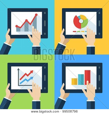 Vector Set Of Touch Interfaces With Flat Diagram And Chart Icons On The Screen.