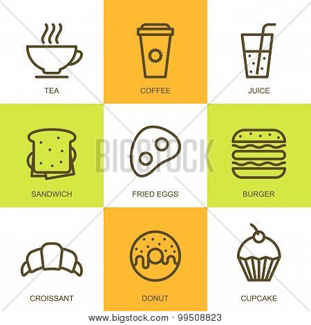 Set Of Vector Simple Linear Food Illustration. Breakfast Icons, Tea, Coffee, Juice, Sandwich, Fried
