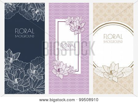 Set Of Vector Floral Banner Backgrounds And Seamless Pattern. Vintage Linear Illustration Of Pastel