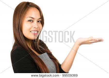 Portrait Hand Flat Woman Showing Eyes At Camera H