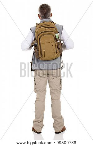 back view of male hiker isolated on white background
