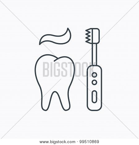 Brushing teeth icon. Electric toothbrush sign.
