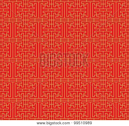 Golden seamless Chinese square line geometry lattice window tracery pattern background.