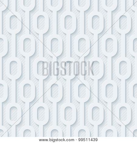Light gray perforated paper with cut out effect. Abstract 3d seamless background. Vector EPS10.