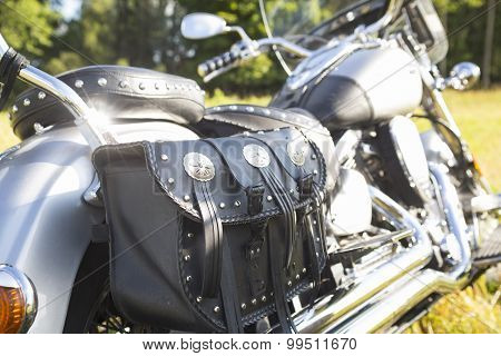 Rear Part Of Motorcycle. Black Leather Bag.