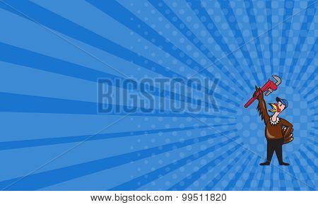 Business Card Turkey Plumber Raising Wrench Standing Cartoon