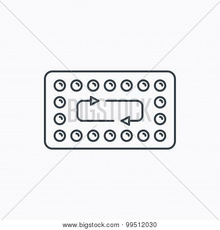 Contraception pills icon. Pharmacology drugs.