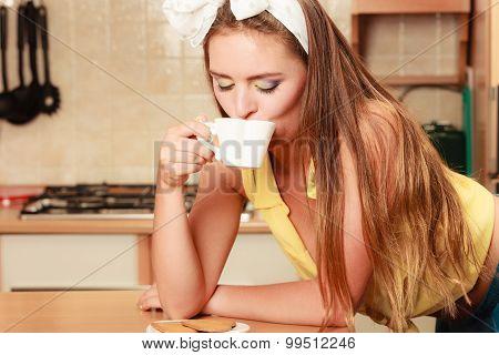 Girl With Gingerbread Cookies Drinking Tea Coffee.