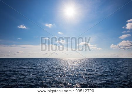 Sun On Blue Sky And Sea In Summer Thailand