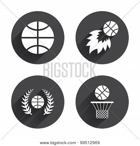 Basketball icons. Ball with basket and fireball.