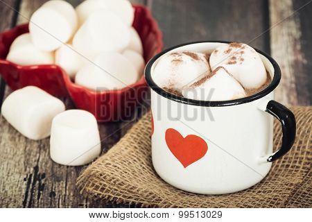 Hot Chocolate And Marshmallows In Vintage Enamel Cup