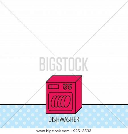 Dishwasher icon. Kitchen appliance sign.
