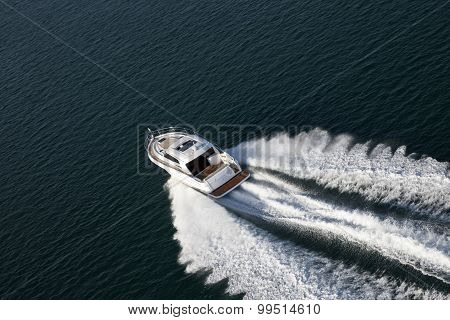 Aerial Shot Of A Speed Boat
