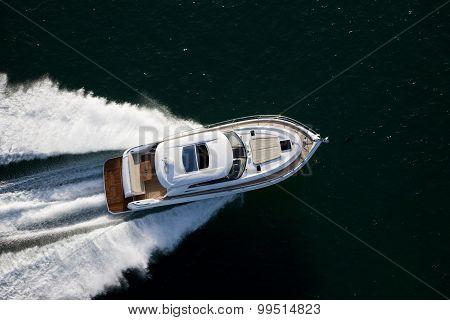 Beautiful Motor Boat Dashing Through A Sea